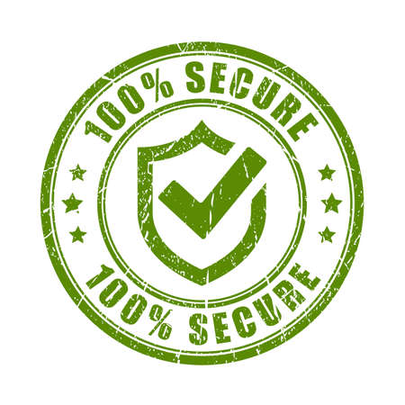 Green secure rubber stamp Иллюстрация