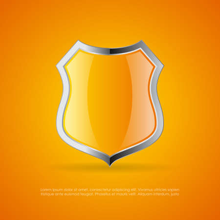 Yellow warning shield vector emblem Illustration