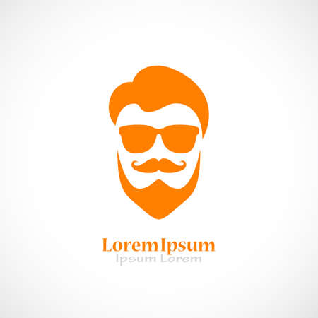 Barber shop vector logo with beared man