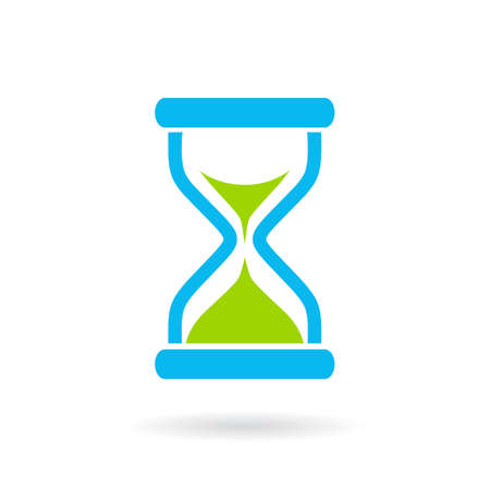 Blue hourglass vector icon