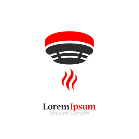 Fire safety logo with smoke detector