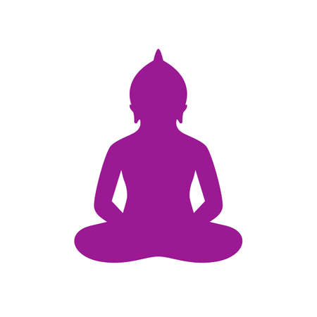 Buddha silhouette in lotus pose vector icon