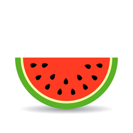Watermelon piece icon on white background, vector illustration.