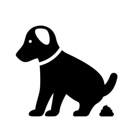 Small pooping dog on white background, vector illustration.