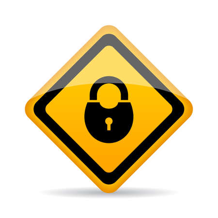 Yellow glossy lock sign on white background, vector illustration.