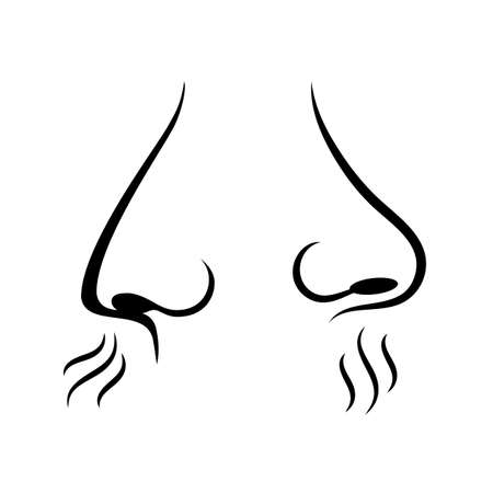 Smell nose pictogram set on white background, vector illustration. Illustration