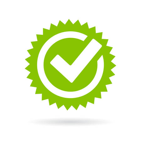 Green approved star seal on white background, vector illustration. Ilustrace