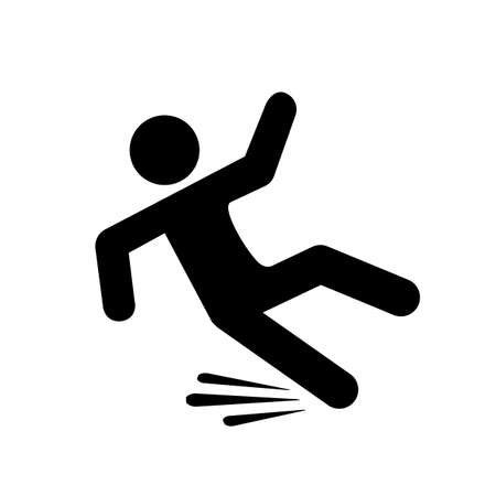 Fall hazard pictogram on white background, vector illustration.