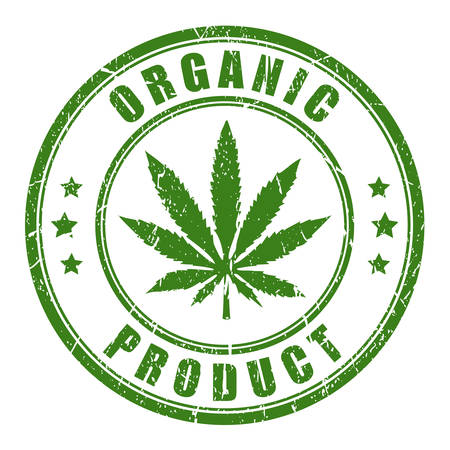 Organic hemp rubber stamp on white background, vector illustration.