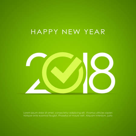 New Year 2018 poster design on green background, vector illustration. Çizim