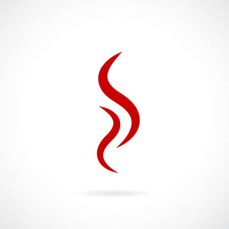 Red smoke steam icon on white background, vector illustration.