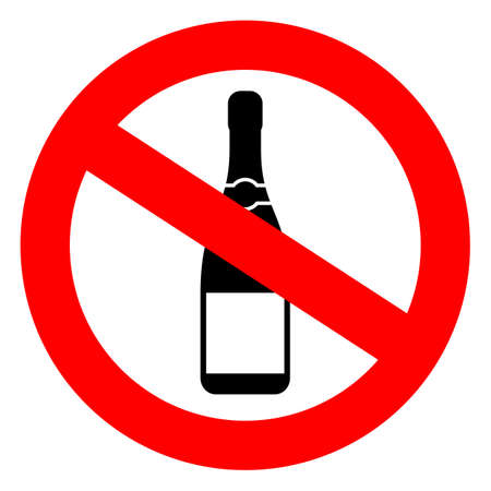 No alcohol sign on white background, vector illustration.