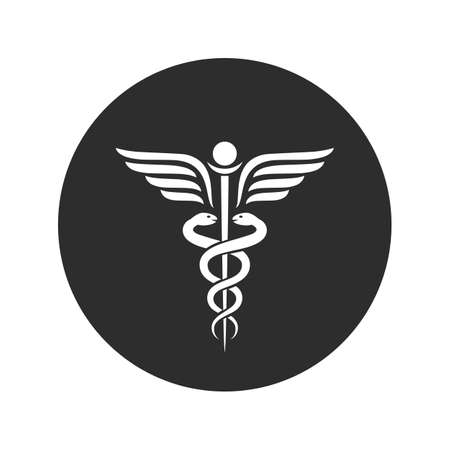 Winged snakes ancient medical vector symbol