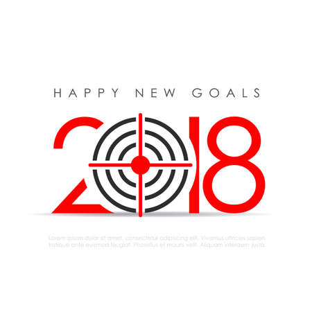 Happy new goals 2018 greeting card Illustration