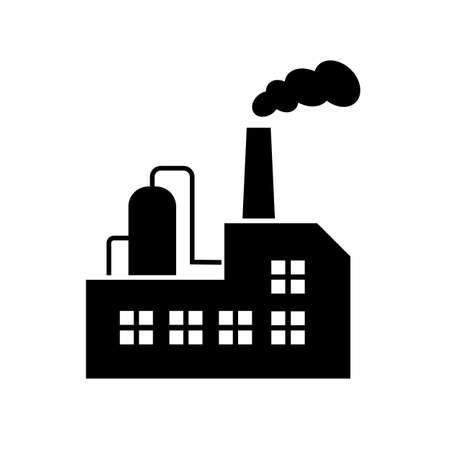 Old oil factory building vector icon