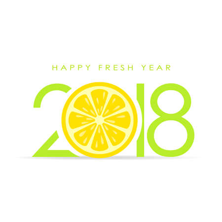 Happy fresh 2018 new year greeting card.