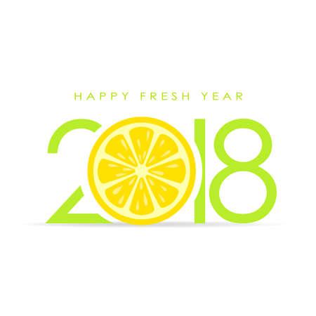 Happy fresh 2018 new year greeting card.