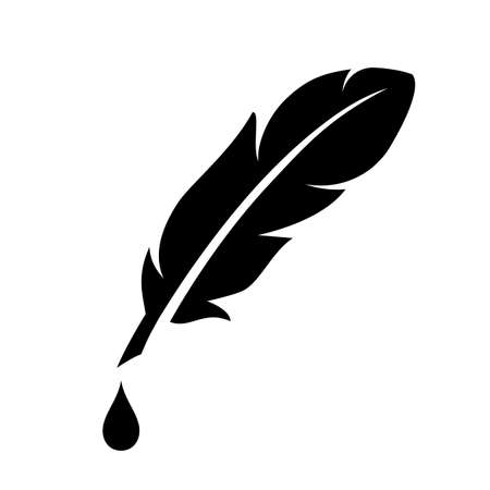 Feather and ink drop vector icon