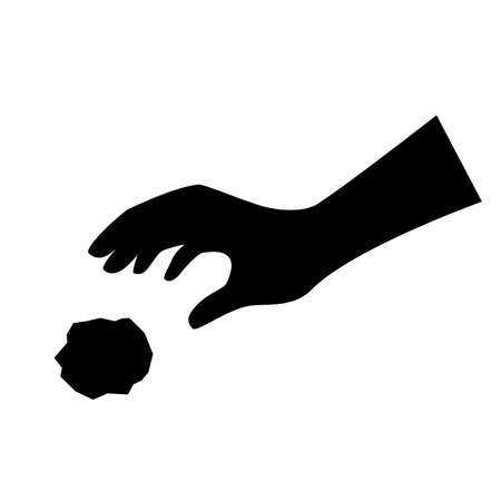 Throwing hand vector silhouette