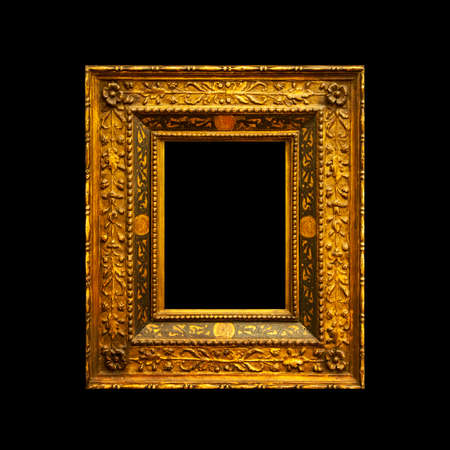 Old ancient painting frame isolated on black background