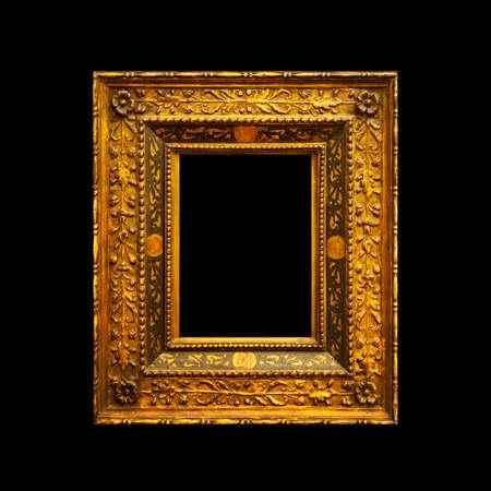 Viejo marco de pintura antigua aislado sobre fondo negro Foto de archivo - 92171209