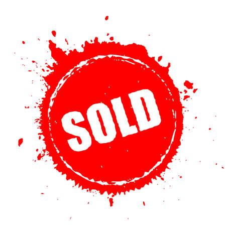 Verkocht rood splash-pictogram Stock Illustratie