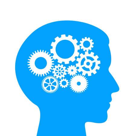 Męski piktogram proces logicznego myślenia