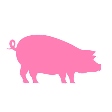Pig vector silhouette icon Illustration