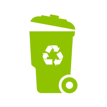 Big green trash can vector icon