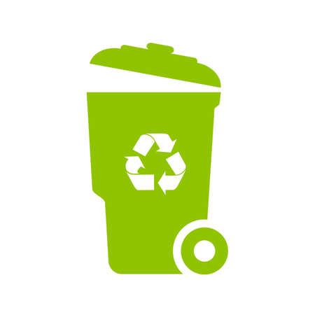 Big green trash can vector icon