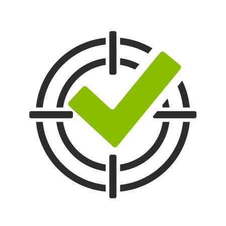 Segno di spunta verde nell'icona di vettore di vista di tiro Vettoriali
