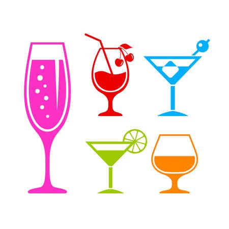 Insieme dell'icona di vettore di cocktail alcolici