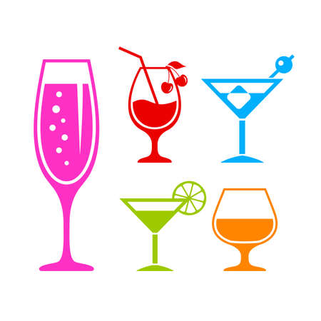 Alcoholic cocktail vector icon set