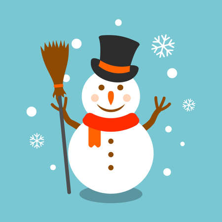Snowman with broom and hat vector illustration