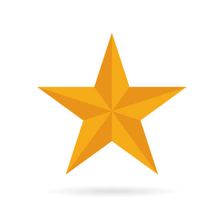 Gold dimensional five pointed star