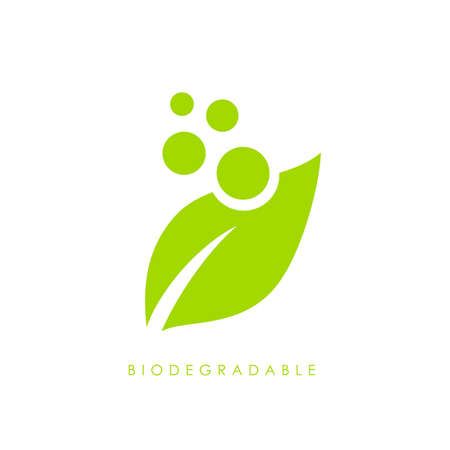 Biodegradable green leaf vector logo