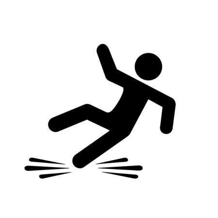 Slippery floor danger pictogram Illustration
