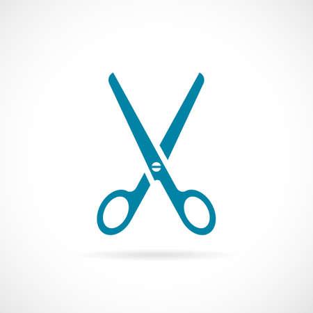Blue scissors vector illustration.