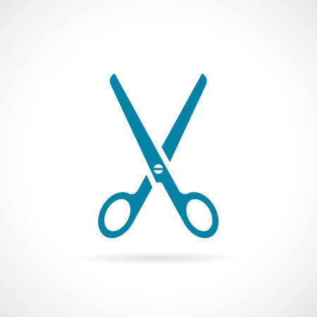 Blue scissors vector illustration.