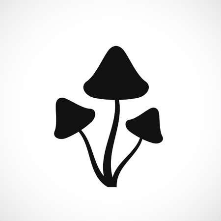 Psilocybin hallucinogenic mushrooms silhouette.