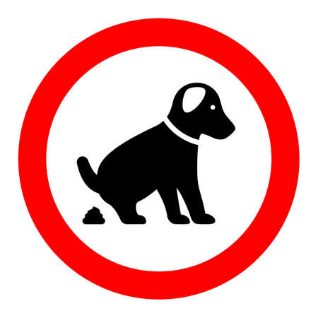 No dog pooping warning sign Illustration
