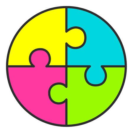 Round four part puzzle diagram