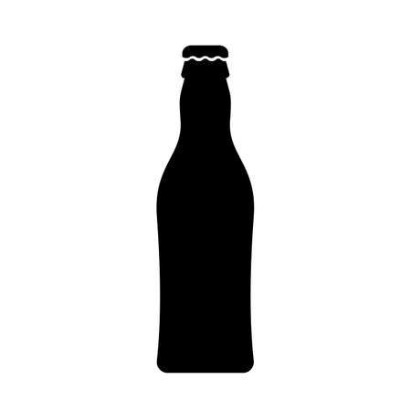 Beer bottle black silhouette icon