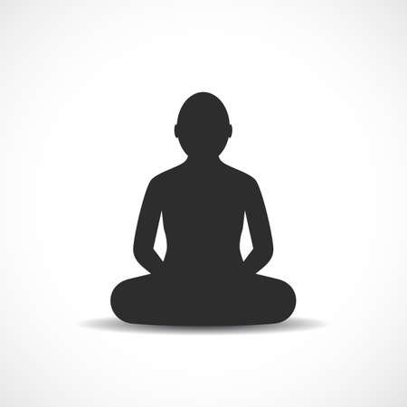 Meditating Buddhist profile vector icon