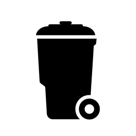 Wheelie trash can vector icon Illustration
