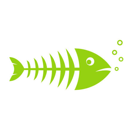 Fish skeleton vector icon