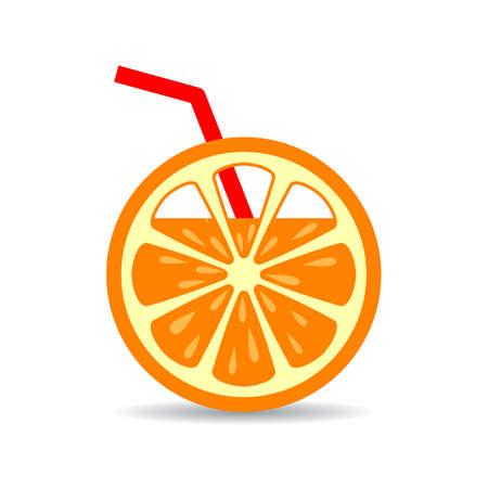Orange juice and straw vector icon