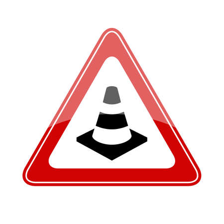 Safety cone triangle red sign Stok Fotoğraf - 94520163