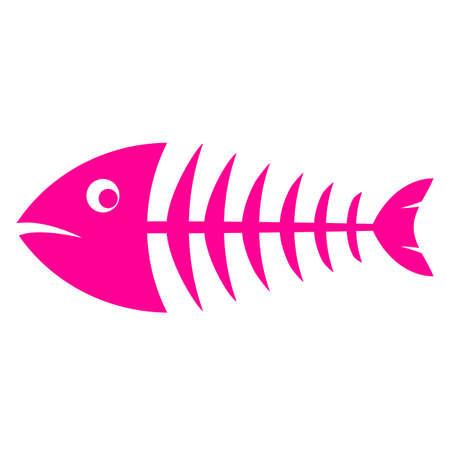 Pink fishbone vector icon