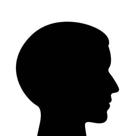 Young man head vector silhouette